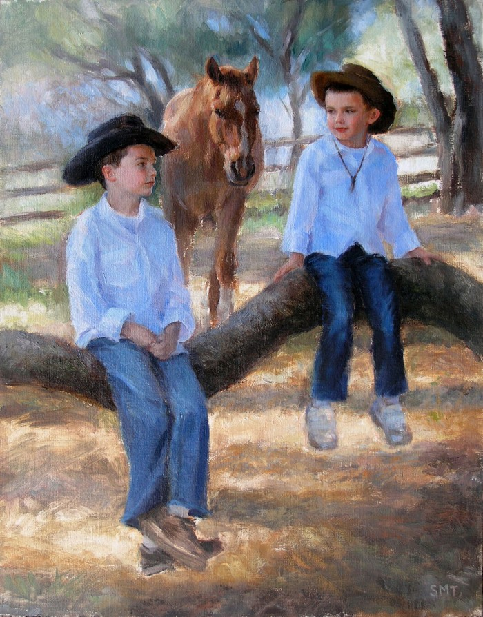 JAKE & SAM, 14 x 18 inches, oil on linen on birch, commission, private collection