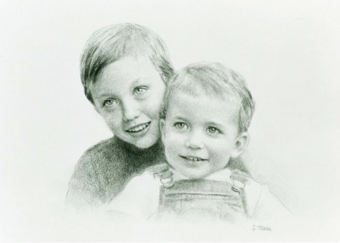 TREVOR & DUSTIN, 8 x 10 inches, graphite on paper, commission, private collection