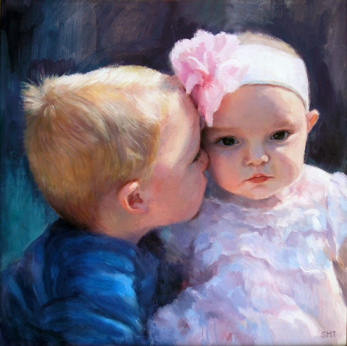 THE SWEETEST MOMENT, 16 x 16 inches, oil on linen, commission, private collection