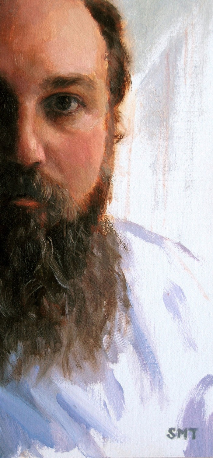 THROUGH THE WINDOW, 5.5 x 12 inches, oil on linen on birch, private collection