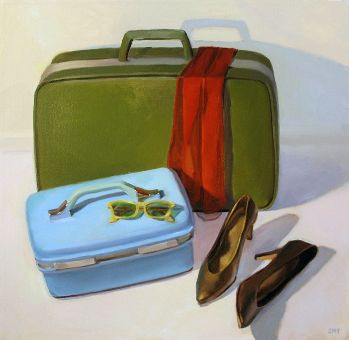 RETRO LUGGAGE, 18 x 18 inches, oil on canvas, private collection